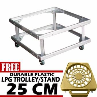 Harga Prostar Durabase Lifted Refrigerator Base / Washing Machine Base / Range Oven Stand Dura Base Adjustable with Wheels with Free 30 cm Durable Plastic LPG Trolley-BEIGE