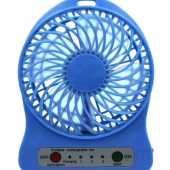 Harga Auxis ZDL-F68 Portable Lithium Battery Rechargeable Fan with Side-Light (Blue)