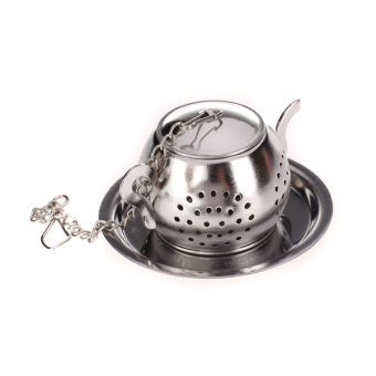 BolehDeals Stainless Steel Teapot Tea Infuser Strainer with Tray (Silver) Price Philippines