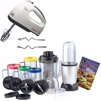 Harga Scarlett HE-133 Professional Electric Whisks Hand Mixer (White) With Domotech High Speed Blender/Mixer Multifunctional Food Processor 21 Pieces Set