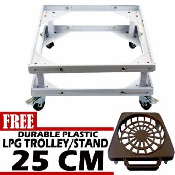 Harga Prostar Durabase Lifted Refrigerator Base / Washing Machine Base / Range Oven Stand Dura Base Adjustable with Wheels (White) with Free 30 cm Durable Plastic LPG Trolley