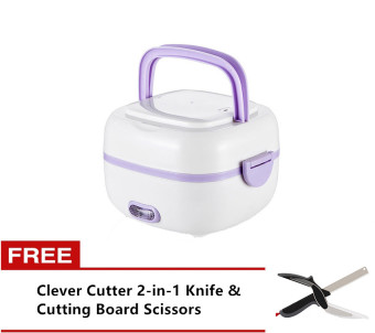 Multifunction Stainless Steel Electric Mini Rice Cooker Lunch Boxwith Free Clever Cutter 2-in-1 Knife & Cutting Board Scissors