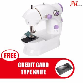 Phstandard PHSM-303 There is Light 2-Speed Mini Electric SewingMachine Kit (White/Purple) with free Credit Card Type FoldibgSafety Knife