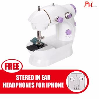 Phstandard PHSM-303 There is Light 2-Speed Mini Electric SewingMachine Kit (White/Purple) with free Stereo In-Ear Headphone forApple iPhone/All Smartphone (Color May Vary)