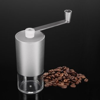 Portable Manual Aluminium Coffee Bean Grinder Mill with Brush andSpoon