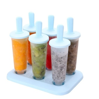 Set of 6 DIY Popsicle Molds, Ice Pop Maker, Ice Pop Molds, Repeated Use (Mixed Color, Large) - intl