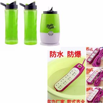 Shake N Take 3 Tumbler and Blender 16oz (Green) With XZY- 8- GangOutllet Water Proof Power Extension 180cm (Purple)