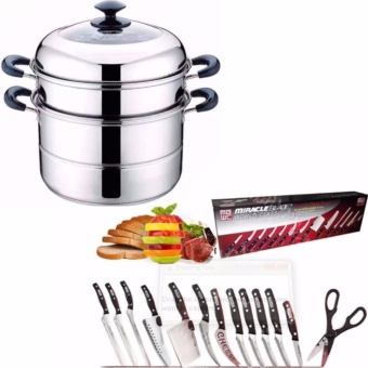Stainless Steel Steamer Cookware Multi-functional Three Layers With13pcs Knife Set