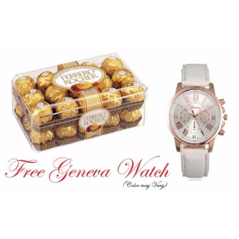 Ferrero Rocher 30 pieces Box Shape with Free 1pc Geneva LeatherWatch (Color May Vary)