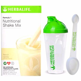 Herbalife F1 Nutritional Shake French Vanilla 22 Sachets w/ Shaker and Spoon