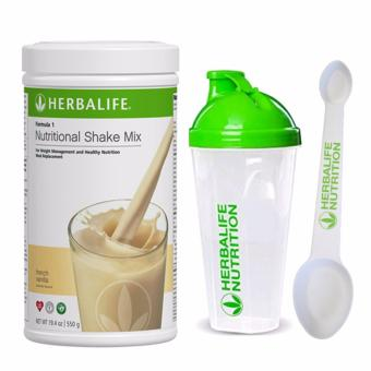 Herbalife F1 Nutritional Shake French Vanilla 550g Canister w/ Shaker and Spoon