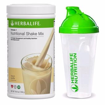 Herbalife F1 Nutritional Shake French Vanilla 550g Canister w/ Shaker Cup