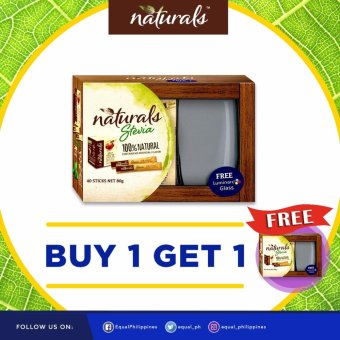 BUY 1 TAKE 1 Naturals Stevia 100% Natural Zero Calorie Sweetener 40x 2g Sticks with 2 FREE Luminarc Glasses Price Philippines