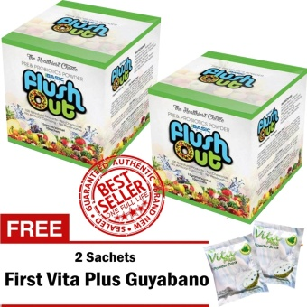 Harga Flush Out Colon Cleanse Prebiotics & Probiotics 2 Boxes (10 Sachets/Box) with FREE 2 Sachets First Vita Plus Guyabano