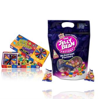 Harga The Jelly Bean Factory 435 g (36 Gourmet Flavours) & Jelly Belly Bean Boozled Spinner and Refill Boxes bundle