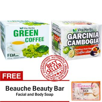 Vita Herbs Green Coffee + Vita Herbs Garcinia Cambogia Coffee Slim (10 Sachets/Box) with FREE Beauche Beauty Bar