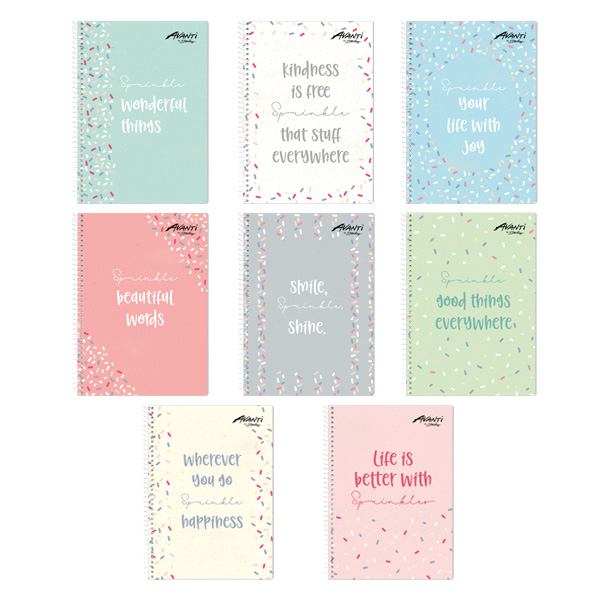 Image of Avanti Sprinkles Collection Premium Spiral Notebook Set of 8