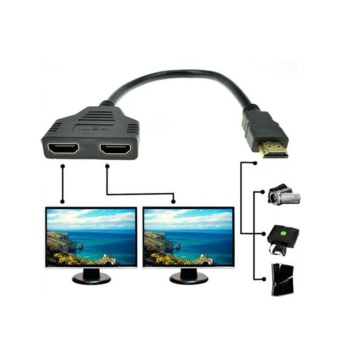 1080P HDMI Port Male to 2 Female 1 In 2 Out Splitter Cable AdapterConverter - intl