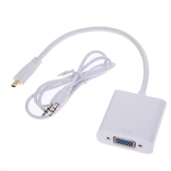 1080P Micro HDMI to VGA with Audio Converter Cable(White) - intl