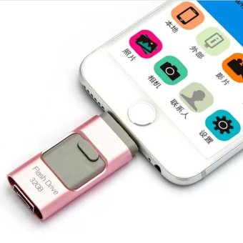 128GB 3 in 1 mini metal Usb Pen Drive Otg Flash Drive For iPhone 5/5s/5c/6/6 Plus/7/7plus/ipad/Android/PC_rose gold - intl