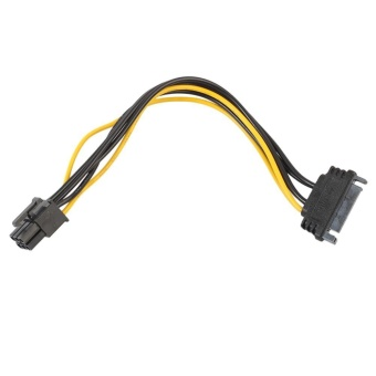 15pin SATA Power to 6pin PCI-e PCI Express Adapter Cable for VideoCard - intl
