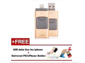 16GB i-Easy Drive Smart phone U Disk/3 in 1 Otg Usb Flash Drive ForiPhone 5/6s/6 plus/7/7 plus iPad PC+Mobile phone bracket + usbflash cable_gold - intl