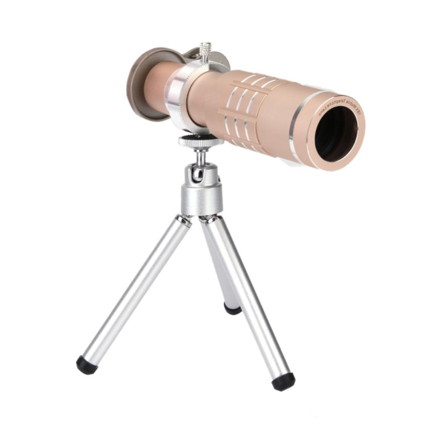 18X Zoom Phone Telescope Telephoto Camera Lens+Tripod LensCover(Gold) - intl