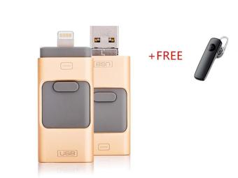 256GB Phone U Disk For iPhone 6, 6s Plus 5 5S 7puls ipad Metal Pen drive HD memory stick Dual purpose mobile Otg Micro USB FLASH Drive+FREE Bluetooth Headset(Gold) - intl