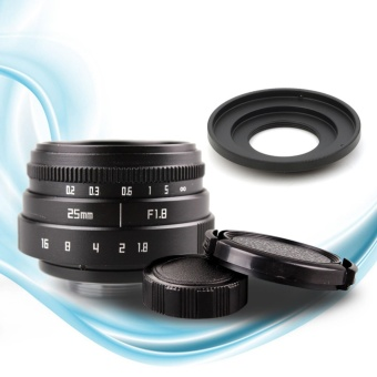 25mm f1.8 CC TV TV Lens + C mount Lens to Fuji FX Nex Camera Adapter + Lens Front and Rear Cap - intl
