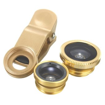 3 in 1 Macro/Fish-eye/Wide Clip Lens for Mobile Phone and Tablets(Gold)