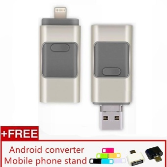 3 in 1 USB Flash Drive 128gb memory Usb Metal Pen Drive For iPhoneApple Android and windows PC Computer, Color Silver - intl