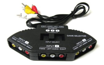 3-Way Audio Video AV RCA Black Switch Selector Box Splitter with/3RCA Cable