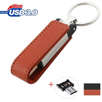 32GB High-end leather OTG Micro USB 3.0 Flash Memory Drive StickPen Thumb U Disk (Brown) - intl