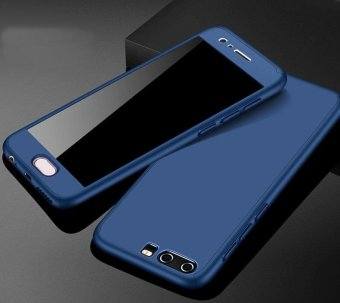 360 Degree All-around Full Body Hybrid Slim Acrylic Hard Case+Tempered Glass Screen Protector for Huawei P10(Blue) - intl