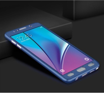 360 Degree All-around Full Body Hybrid Slim Acrylic Hard Case+Tempered Glass Screen Protector for Samsung Galaxy Note 4(Blue) - intl