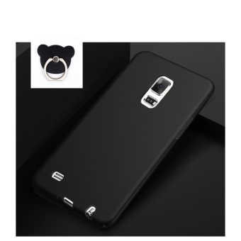 360 ultra-thin matte PC hard Cover Case For S amsung Galaxy Note 4(Black+Bear ring) - intl