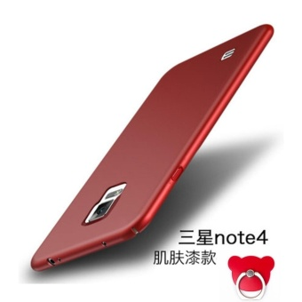 360 ultra-thin matte PC hard Cover Case For S amsung Galaxy Note 4(Red+Bear ring) - intl