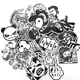 60 PCS Black White Waterproof Removable Skateboard Guitar Travel Case Car Motorcycle Bike Laptop Sticker Decal Stickers - intl