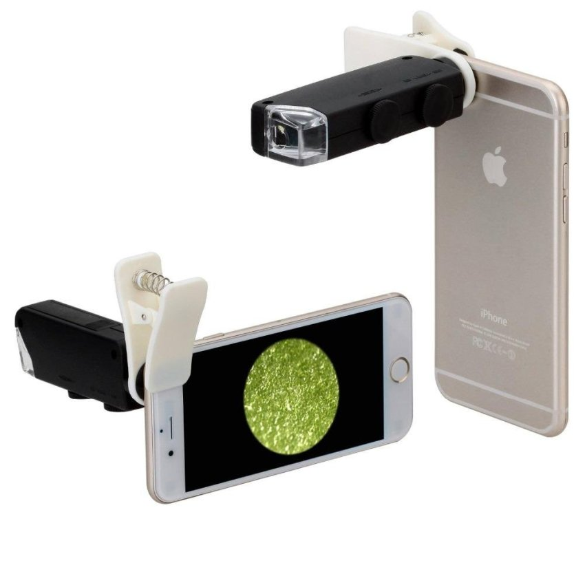 60X-100X Optical Zoom LED Microscope Lens with Clip for Mobile Phones - intl