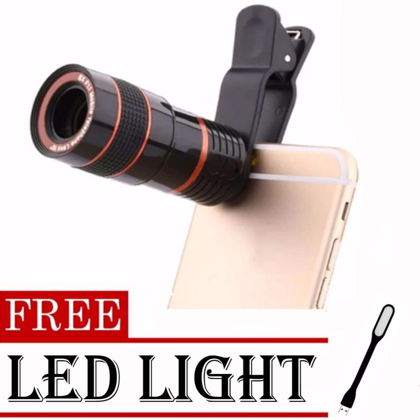 8x Zoom Universal Telescope Clip Lens for Smartphone (Black)withFREE LED Light (color may vary))