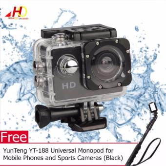 A7 Ultimate Sports Action Cam Under Water Extreme (Black) with FREEYunTeng YT-188 Universal Monopod for Mobile Phones and SportsCameras (Black)