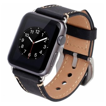 Apple Watch Band, 42mm iWatch Band Strap Premium Vintage GenuineLeather Replacement Watchband with Secure Metal Clasp Buckle forApple Watch Sport Edition - intl