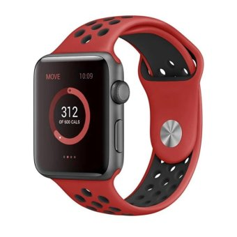 Apple Watch Series 2 Band,Ulooks(R) for Nike Soft SiliconeReplacement Sport Strap iWatch Band for Apple Watch 42mm All ModelSeries 1 and Series 2 (Red+Black) - intl