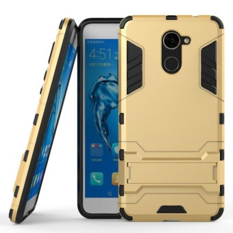 Armor Case For Huawei Y7 Prime Dual Layer Shockproof Stand Protective Cover Gold