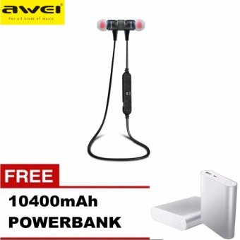 Awei A920BL Wireless Bluetooth 4.0 Sport Exercise Stereo Earbuds Built-in Microphone Earphone Headset with Free 10400mAh Power Bank (GREY) Price Philippines