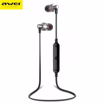 Awei A990BL Noise-Isolation Sweat-Proof Flat-Wire WirelessBluetooth V4.0 Headset with Mic (Rose Gold)