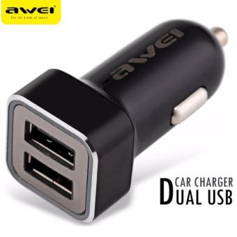 Awei C-200 Fast-Charging Dual-Output USB Car Charger for Smartphones, Cameras, IOS and other Digital Products (Black) Price Philippines