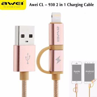 Awei CL-930 8-pin/Micro-USB to USB 2.0 1M Data Sync and Fast-ChargeCable (Gold) Price Philippines