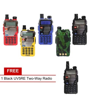 Baofeng / Pofung UV5RE VHF/UHF Dual Band Two-Way Radio Set of 5(Multi-color) with Free UV5RE (Black)