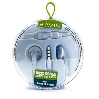Bavin Bass Driven Stereo Earphones for Apple iPhone, iPod, iPad,Samsung Galaxy, Xperia, LG, Lenovo (White)